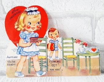 Vintage 1940's Little Girl Little Boy Chocolate CakeGreetings Card (B17)