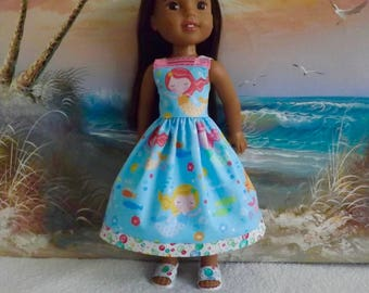"""Doll Clothes NEW Item Mermaids and Bubbles Sun Dress Fits 14.5"""" Dolls Like Wellie Wishers and H4H"""