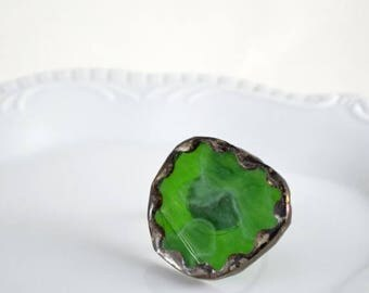 SUMMER SALE Recycled Stained Glass Ring -  Green