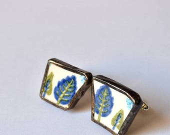 SUMMER SALE Broken China Cuff Links - Blue and Green Swiss Chalet