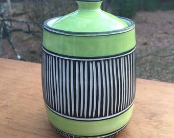 Modern carved porcelain canister jar