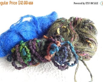 CLEARANCE - Green and orange mix yarn, great for fringe and accents, 3 ounces