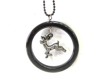 Hematite Hoop Pendant Deer Sterling Silver Charm Chain Necklace