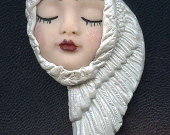 OOAK Polymer Clay Face with Pearl  Wings  Art Nouveau    AWP 2