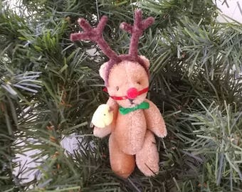 Rudolph the Red Nosed Reindeer Miniature Bear Christmas Ornament Holding Yellow Bird