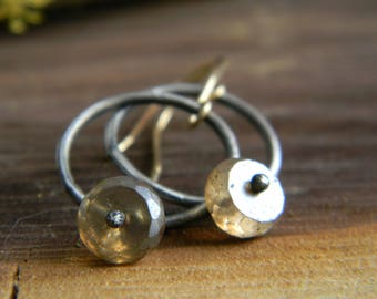 sterling silver rings with mystic coated whiskey quartz - 14k gold filled earwires - dangle earrings