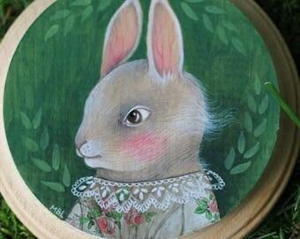 Green Summer Rabbit (Rabbit Portrait #2) marmeecraft victorian bunny painting illustration