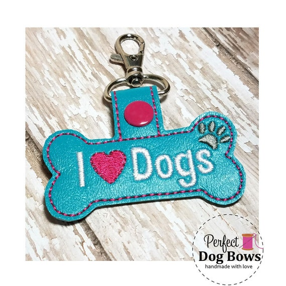 Embroidered KeyChain, Key Fob, Key Holder, Dog Bone Fob, Turquoise Bone, Pet Lover Gifts