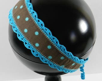 Brown Headband, Turquoise Dots, Crochet Trim and Ties