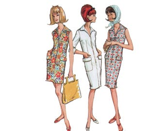 60s uncut Sheath Dress Pattern Zip n Go vintage 36-28-38  Day Dress pattern Bust 36 McCalls 7293