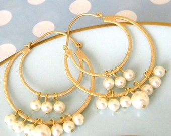 SALE Pearl Gold Hoop Earrings