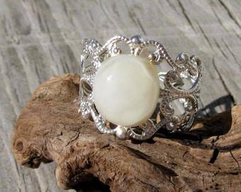 Snow White Filigree Ring