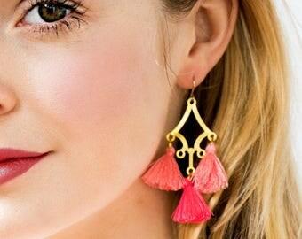Large Tassel Earring, Long tassel earrings, Boho Tassel Earrings, Tassel Chandeliers, pink earrings, summer earrings