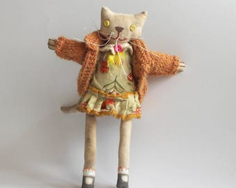 Cloth Doll, Cat, Gift For Cat Lover, Prim Style, Ginger