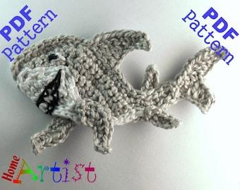 Shark + Plants crochet Applique Pattern