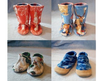 Custom Holiday Soft Soled Baby Shoes or Boots