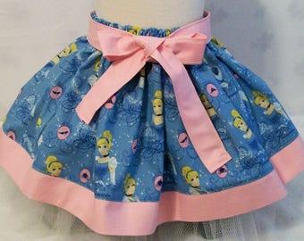 Girls Blue with Pink Princess Skirt, Girls Clothing, Baby Girls Skirt, Toddler Girls Skirt, Big Girls skirt, handmade, USA Made, #240