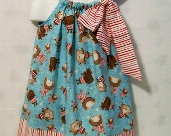 Bears on Blue Girls  Pillowcase Dress,  Girls Clothing, Baby Girls Dress, Baby Toddler Girls Dress, handmade, USA Made, #1