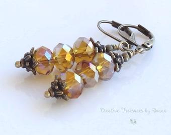 Crystal Earrings, Brass Earrings, Gold Crystals, Stacked Crystal Earrings, Holiday Earrings, Victorian Earrings, Valentine Gift