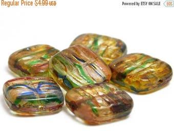 CLEARANCE Czech Picasso Beads - Chunky Beads - Mixed Glass - Czech Glass - Czech Beads - 6pcs (2495)
