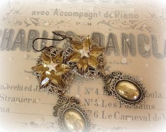 starstruck one of a kind vintage assemblage earrings 100% vintage filigree layered ovals glass stars matte silver metal star center