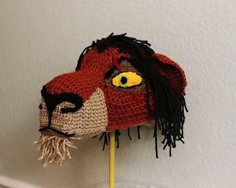 Crochet Scar the Lion Hat - crochet Lion King hats - hats for boys - hats for girls - Halloween Costume hat