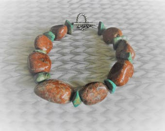 Turquoise and Red Sesame Jasper Nuggets Bracelet, Free Domestic Shipping, Silver Toggle Clasp, Size 8.75 inches, Men, Women, Teen, Unisex