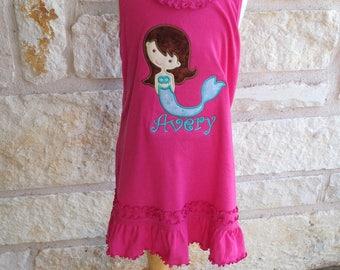 Hot Pink Applique Mermaid Ruffle Dress