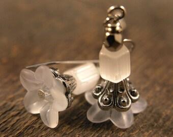 SALE frosted white flower earrings, swarovski crystals, silver handmade earrings