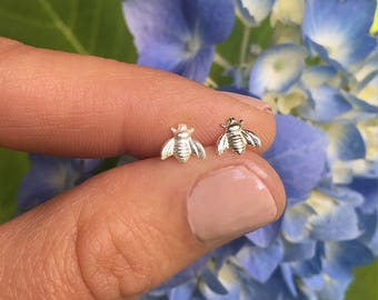 Tiny Bee Studs Little Bumble Bees Sterling Silver Stud Earrings Honey Bee Earring Insect Earing Small Posts Bee Jewelry Silver Post