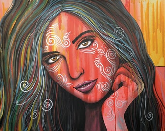 Original Hand painted Abstract Portrait Face Women Painting Art, Memories, Amy Giacomelli, You can WATCH a video of me doing this painting