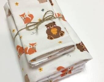 Baby Gift Set Woodland Animals Blanket and Burp Cloths Handmade Cotton Flannel Gender Neutral bear deer fox
