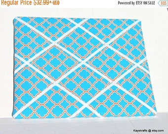 Christmas In July 30% Off Quatrefoil Teal And Orange Memory Board French Memo Board, Fabric RibbonMemo Bulletin Board, Fabric Pin Board, Bed