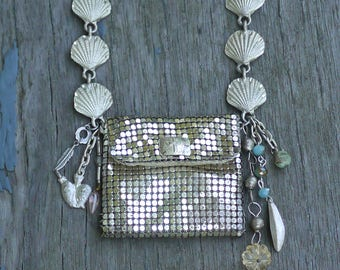 Jewelry -Necklace - Silver Pouch Wish Carrier Necklace- Mixed Media Treasure Keeper- Boho Chic - Shabby Fabulousness -