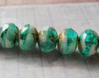 Emerald Green and White Beads 8x6mm Picasso Finish on Ends 10 Beads
