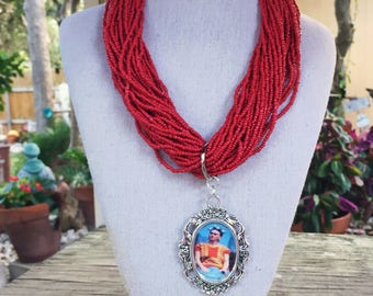 Frida Kahlo Sitting on Rooftop Red Seed Bead Necklace