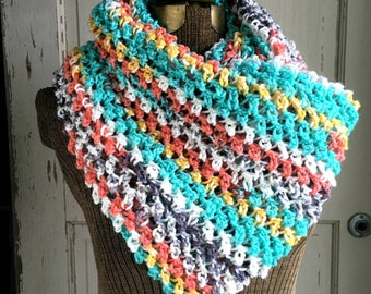 Painted Canyon Circle Scarf Crochet Cowl Scarf Large Infinity Scarf Turquoise Terra Cotta