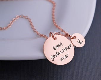 Rose Gold Godmother Necklace, Christmas Gift for Godmother, Rose Gold Best Godmother Ever Necklace with Personalized Charms, Christian Gift