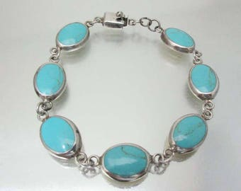 Sterling Silver Turquoise Bracelet Mexico