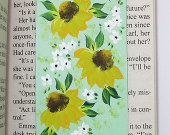 Hand-Painted Magnetic Bookmark - Sunflowers and Daisies - No. 1201