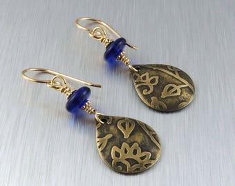 Etched Brass Earrings - Brass and Blue Earrings - Brass Teardrop Earrings