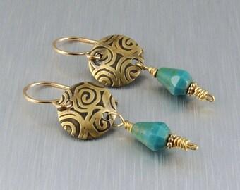 Etched Brass Earrings - Brass and Teal Earrings - Brass Drop Earrings