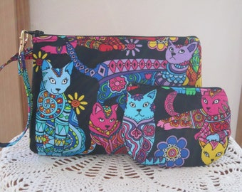 Wristlet Case Purse Clutch Iphone Smart phone  Pouch   Zipper Gadget Pouch Set Colorful Cats