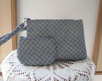 Industrial Chic Smart phone Case Gadget Pouch Clutch Wristlet Zipper Gadget Pouch Bag Made in USA Set