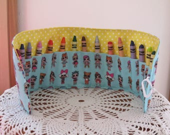 Crayon Roll up - Crayon Holder - LOL Surprise Doll  Crayon Roll - Toddler Gift, Travel Toy, Birthday Party Gift