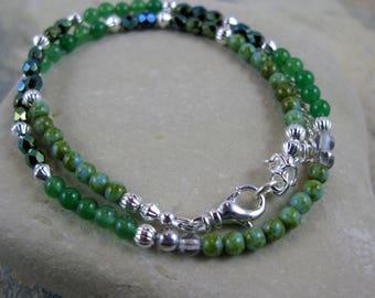 OOAK Malaysia Jade Gemstone Beaded Wrap Bracelet or Choker - Item 1073
