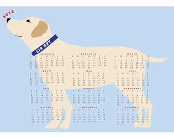 Custom 2018 Yellow Lab Dog Calendar  wall calendar poster 13 x 19 inches
