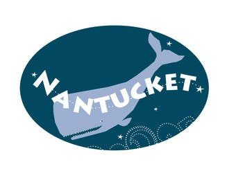 Nantucket Bumper Sticker type with whale