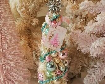 Bottle Brush Tree - Shabby Pink, Aqua & Pastel, Mercury Glass Ornaments