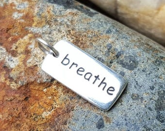 ON SALE TODAY Breathe Word Charm - Sterling Silver - Yoga Necklace
